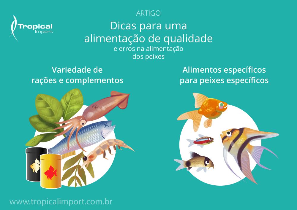 Variedade das rações para peixes ornamentais